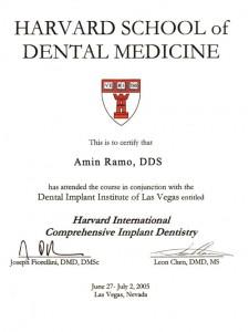 Certificate from the Harvard School of Dental Medicine